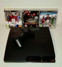 PS3 250gb with leads, controller and 3 games