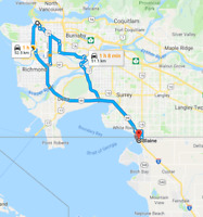 Offering ride DT Vancouver to Blaine/Bellingham Feb 22,23, or 24