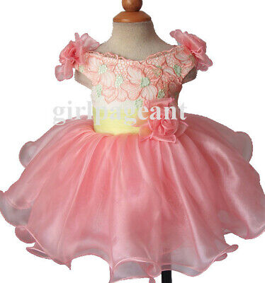 Infant/toddler/baby natural Pageant/formal  Dress G188-1 with hairbow - Infant Natural Apparel