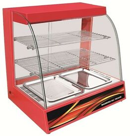 Hot Food Red Warming Electric Display Cabinet Counter Pie Pasty 66cm with Water Box
