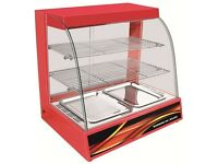 808 HOT FOOD WARMER - HOT FOOD DISPLAY CABINET WITH TWO LARGE SHELVES MEASURING 600X300mm EACH!!!