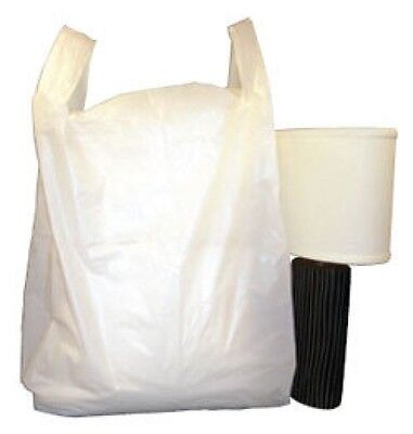 100 LARGE WHITE VEST CARRIER BAGS 12