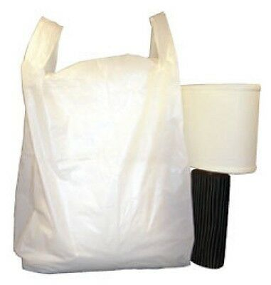 500 LARGE WHITE VEST CARRIER BAGS 12 X 18