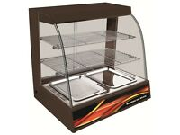 WARMING ELECTRIC DISPLAY CABINET COUNTER PIE PASTY 66CM WITH WATER POT BLACK