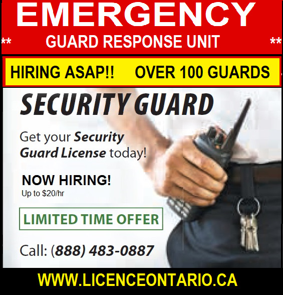 Guaranteed Employment Hiring Security Guards Up To 20