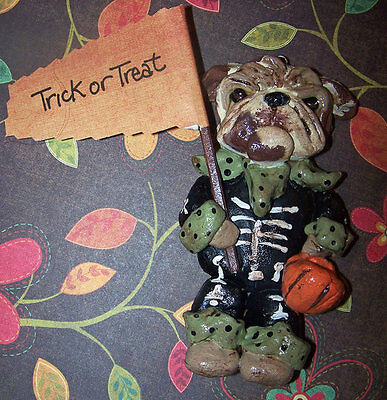 Whimsical Vintage Style English Bulldog Halloween Skeleton Ornament Folk - Bulldog Skeleton