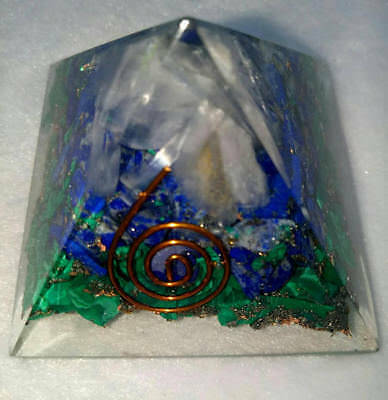 Lapis Malachite And Selenite All 3 Stones In One Orgone Pyramid 50 Mm
