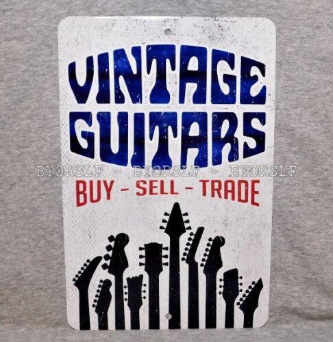 Metal Sign VINTAGE GUITARS store shop guitarist electric acoustic guitar axe old