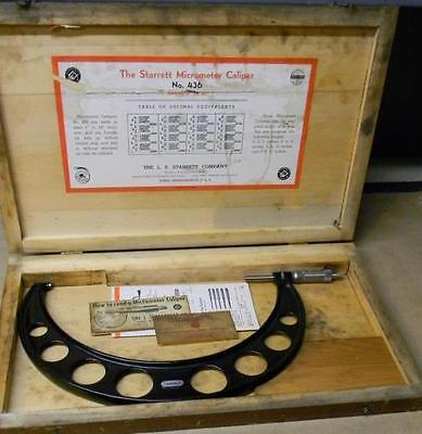 Vintage L.s. Starrett 9-10 Outside Micrometer 436 In Wooden Box