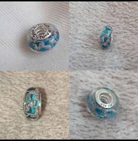 Pandora Blue Glass Charm Swirl