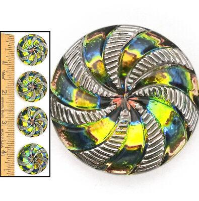 SALE 27mm Vintage Czech Glass Rainbow FLASH AB Pinwheel Silver SWIRL Buttons 4pc