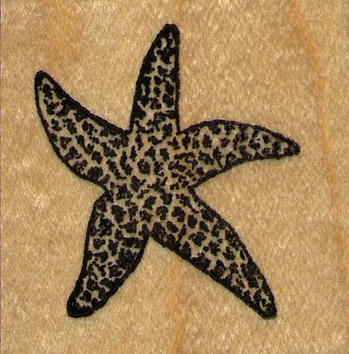 "mounted rubber stamp   XL Starfish wood mount 3"" X 3"""