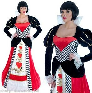 Ladies-Full-Length-Queen-of-Hearts-Fancy-Dress-Costume-Outfit-UK-8-26-Plus-Size
