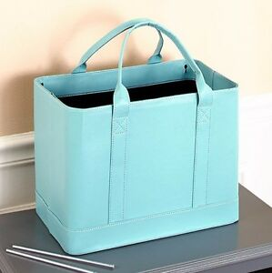 Chic Portable File Organizer Storage Tote Bag Blue NEW