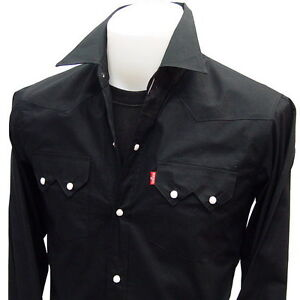 WESTERN SNAP RockaBilly CowBoy Rock Punk Vintage Shirt BLACK L