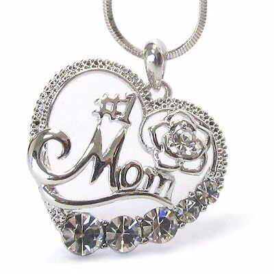 Mother Necklace Crystal #1 Mom Heart pendant  Number One Mom White Gold Plating 1 Mother Heart Pendant