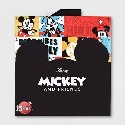 Women's Mickey Mouse & Friends 15 Days of Socks Advent Calendar Sz 4-10