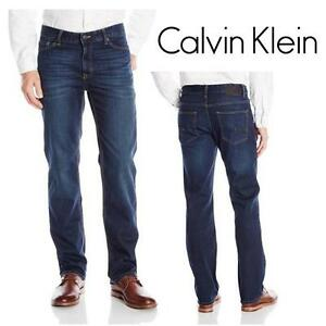 NEW CALVIN KLEIN JEANS MEN'S 33x32 DARK TINTED - PANTS - STRAIGHT 78986077