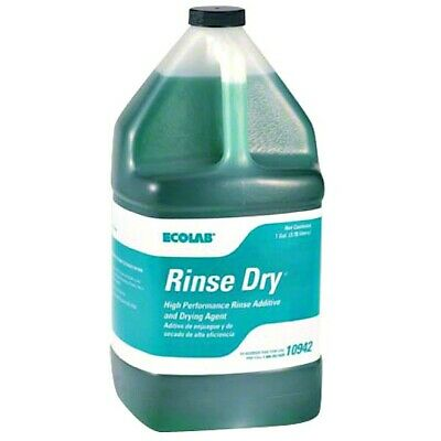 Ecolab Rinse Dry 109442 Commercial Dishwasher Additive 1 Gal. Bottles Case Of 4