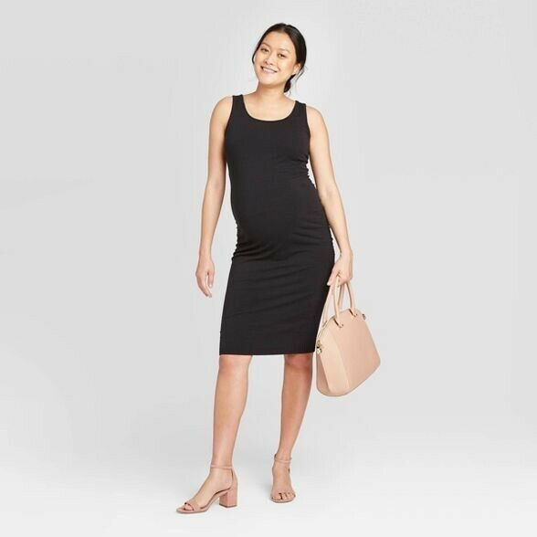 Isabel Maternity Medium M Ruched Dress Bodycon Black Sleeveless Tank Summer Fall