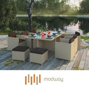 NEW MODWAY 11 PC PATIO DINING SET - 124868372 - TAN BROWN REVERSAL OUTDOOR WICKER TABLES CHAIRS STOOLS SEATS SEATING ...