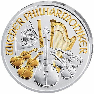 2016 Austrian Silver Philharmonic Coin (Gilded, BU)