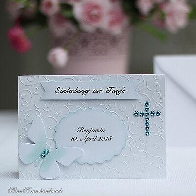 10 Einladungskarten Einladung Taufeinladung Taufe Jungs blau Handarbeit binnbonn