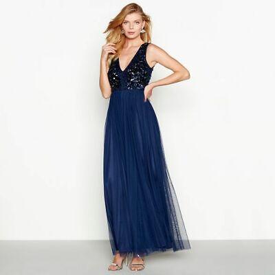 Jenny Packham Greta Plunge Neck Navy Embellished Maxi Dress Size UK  14