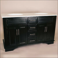 "60"" Solid Wood Double Sink Bathroom Vanity"