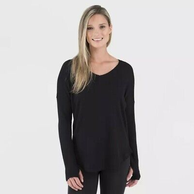 Wander by Hottotties Women's Waffle Collection Long Sleeve V-Neck - Size M black
