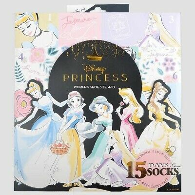Disney Princess 15 DAYS OF SOCKS Holiday Advent Calendar Shoe Size 4-10