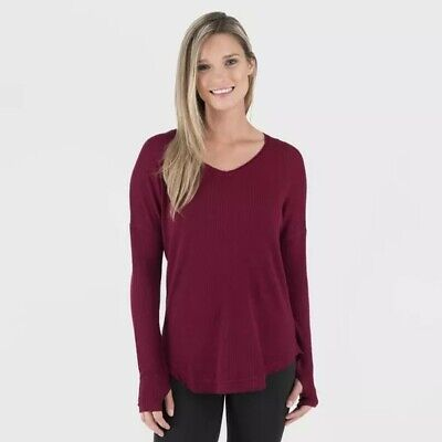 Wander by Hottotties Women's Waffle Collection Long Sleeve V-Neck - Size S Red