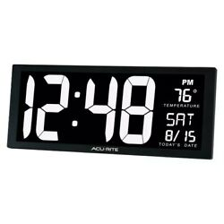Large Digital Wall Clock AcuRite Oversized LED Clock With Indoor Temperature