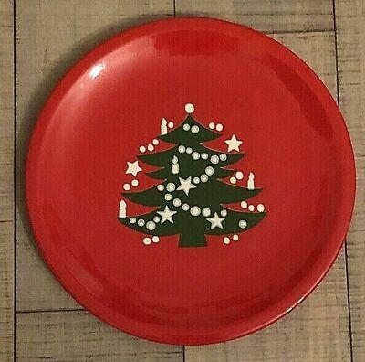 Waechtersbach Red Christmas Tree Germany 10 Dinner Plate Retired Design EUC  - $24.99