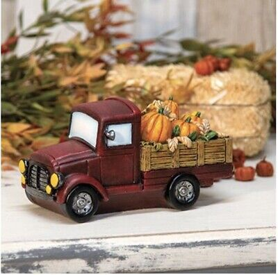 Farmhouse Harvest Red Farm Truck with Pumpkins Sunflowers - Fall Autumn