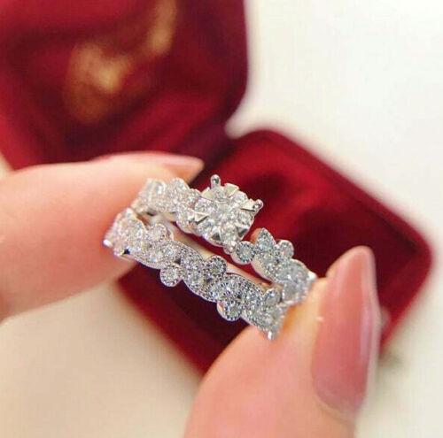 Vintage Art Deco Engagement Wedding Bridal Ring Set 2.4Ct Diamond 14k White Gold