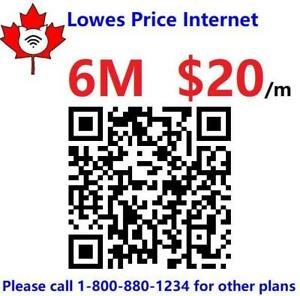 Lowest price internet $20/month and up.  No contract. Free Modem & Free install - higher speed is available up request