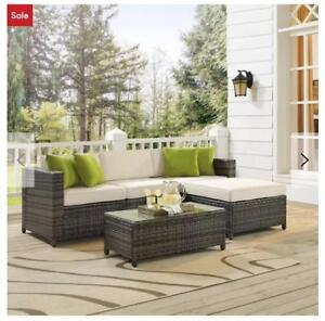 For Sale A Brand New Kaczor 5 Piece Rattan Sectional Set with Cushions....$300