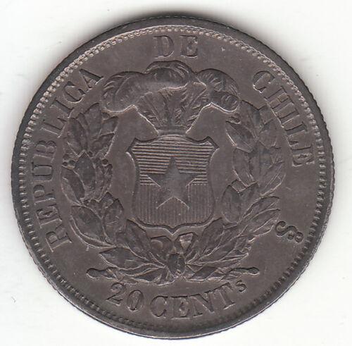 1865-So Chile 20 Centavos.  0.900 Silver.  High Grade.