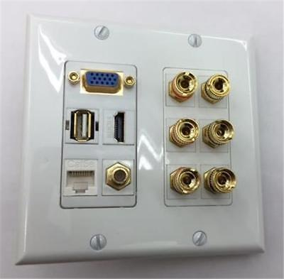 CERTICABLE CUSTOM WALL PLATE 1-VGA 1-USB 1-HDMI 1-CAT5 1-COAX 3- BANANA JACK SET ()