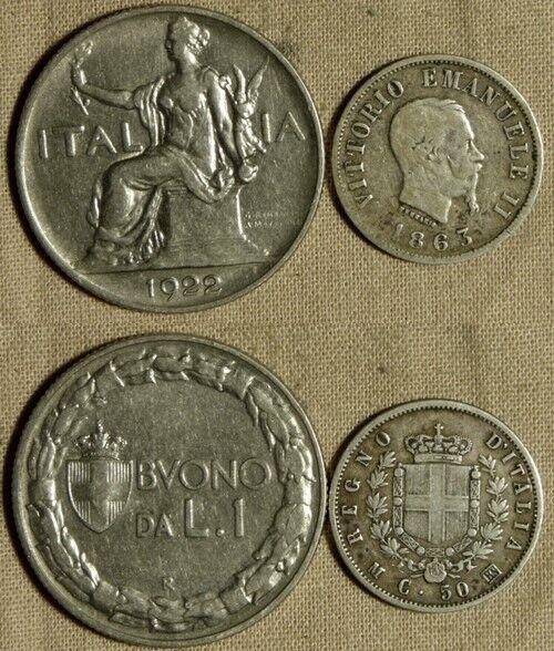 Italy : Lot 2 Coins 50 Ct 1863MBN  VF/VF-XF  1922 1 Lira VF-XF #14.1 #62 IR839