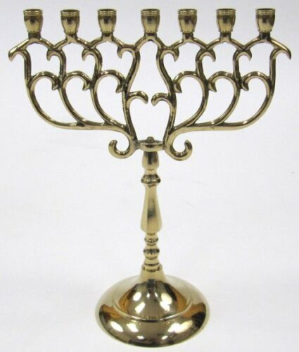 "9"" Solid Brass Israel Menorah Candle Holder 7 Branch Jerusalem Temple Jewish"