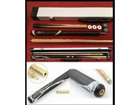 Brand new cue & case. Riley WAC 3 piece ash snooker / pool cue with 9.5mm leather tip