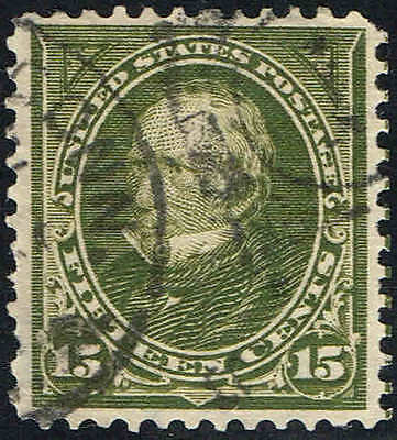 #284 1898 15 CENT REGULAR ISSUE  USED--VF/XF--HANDSTAMP TOWN CANCELS