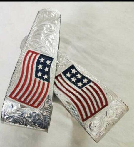 Aluminuml Western Saddle Stirrups with crystal usa flag