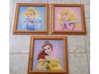 3 Disney Princess Framed Prints