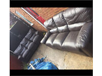 3 seat leather recliner sofa x2