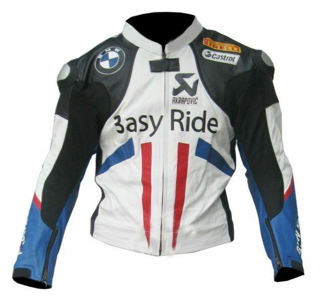 Handmade Men's BMW Logo Genuine Leather Racing Motorcycle Ja
