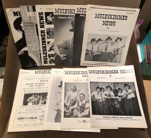 Lot of 10 MULESKINNER NEWS Bluegrass magazines - 1971-73  Stanley Scruggs Flatt