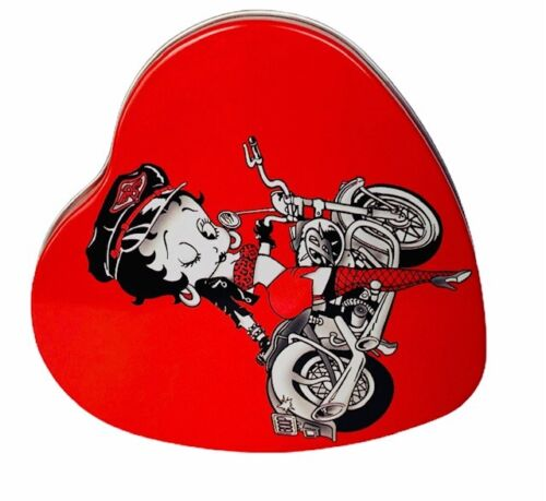 Betty Boop figurine vtg Tin metal box collectible Valentines heart motorcycle